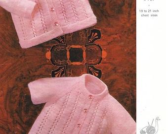 3 ply Pattern, 4 ply pattern, Vintage Baby Pattern, Baby Jacket Pattern, Cardigan Pattern, Baby Knit Pattern, Instant Download, PDF Pattern