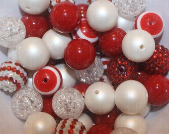 50 bead mix 20mm beads  Red and White