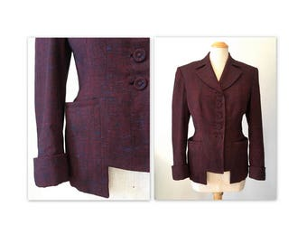 Vintage 40s Suit Jacket M New Look in a Novelty Tweed by Utah Tailoring Mills