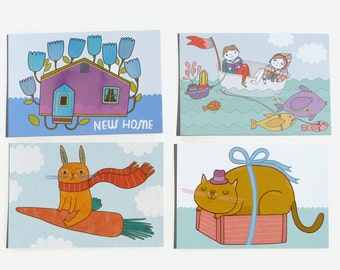 Postcard Set #4 - New Home, Adventure, Flying Bunny and Cat