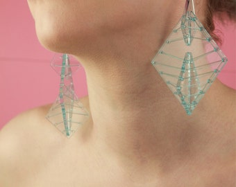 Large Blue Kaleidoscopic Earrings - Bold Statement Laser Cut Hand Dyed Acrylic Perspex Geometric Elastic Thread Earrings on Silver Hooks