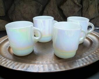 Fire King Anchor Hocking Coffee Mugs, Set of 4, Aurora C Handle, Iridescent White Milk Glass, Pearl Lustre, Opal