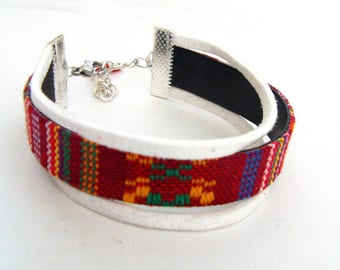 Ethnic MULTISTRAND bracelet with flat and suedine Ribbon