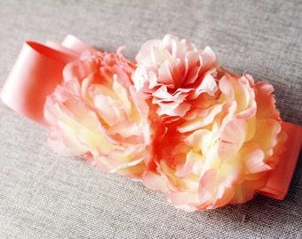 Bridal Flower Sash Belt - Wedding Dress Sashes Belts - Coral Pink Flowers Ribbon Belt