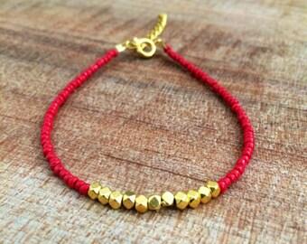 Nugget bracelet, dainty bracelet, simple bracelet, gold nugget, red bracelet, Christmas bracelet, friendship bracelet, red and gold, stack