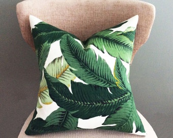 Palm leaf pillow, Decorative pillow cover, Throw pillow cover, Green pillow cover, Accent Pillow, Indoor or Outdoor pillow cover