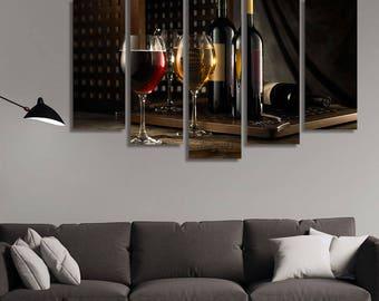 Wine Canvas, Wine Wall Art, Wine Wall Decor, Wine Print, Restaurant Decor,  Wine Deocr, Romantic Wall Art, Romantic Decor, Kitchen Décor