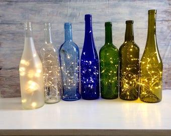 Wine Bottle Decor, Lights Inside Wine Bottle, battery operated lights, fairy lights inside a bottle, rice lights, LED battery lights,