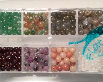 Round gemstone beads, bead assortment, bead kit