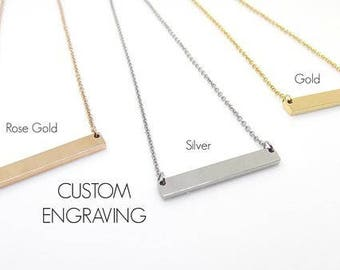 Personalized Bar Necklace - Engraved Jewelry - Custom Necklace - Silver Gold or Rose Gold Coordinates - Bridesmaid Gift - Sister - Name