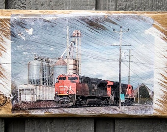 CP Train in Langley, BC Fine Art Photograph Manually Transferred to Reclaimed Wood, Ready to Hang in Your Home