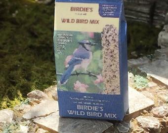 Miniature Bird Seed Bag, Birdie Mix Bag, Dollhouse Miniature, 1:12 Scale, Miniature Dollhouse Accessory, Decor, Mini Yard & Garden Decor