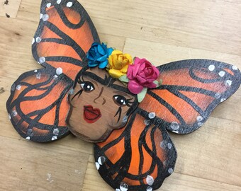 Bright- Frida Kahlo Monarch Butterfly wall hanging