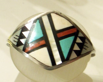 Vintage Zuni Cuff Bracelet - Turquoise Coral Mother-of-Pearl - Signed SterlingSilver - Small Wrist - Art Deco Design - Bowannie Family