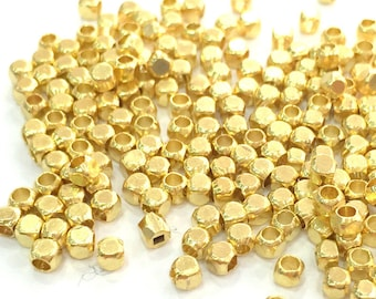 50 Gold Plated Brass Cube Beads 50 Pcs (2,5x2 mm)  G3862