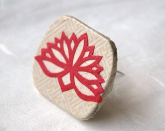 Lotus Flower Brooch Hanji Paper Pin OOAK Dress Clip Floral Design White Ivory Hot Pink Stainless Steel Pin Handmade