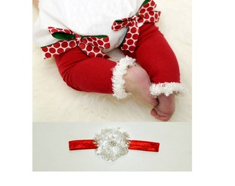 Red and White Christmas Baby Leg Warmers and Headband