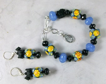 Talavera Lampwork, Spinel and Chalcedony OOAK Scottie Adjustable Bracelet and Earring Set - B-153ss