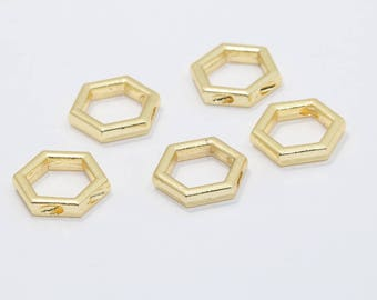 24k Gold Plated Hexagon Charms, Hexagon Pendant , Gold Plated Charms,BRT127