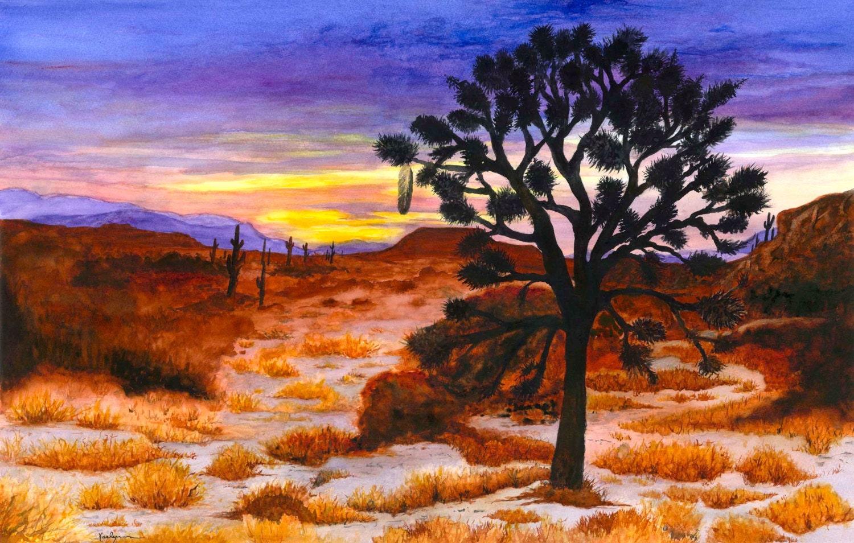 Desert Sunset Southwest Landscape Painting Watercolor Print