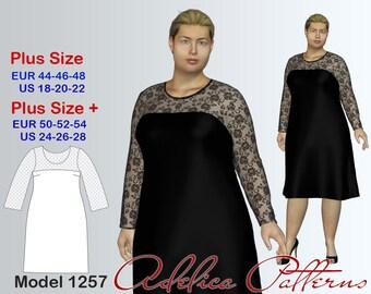 Plus size Evening Dress Sewing Pattern PDF, Women's sizes 18-28, Dress PDF Instant Download Sewing Pattern, Bridesmaid dress Sewing Pattern