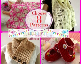 PATTERN DISCOUNT Knitting and Crochet - CHOOSE 8 - Your choice of 8 patterns Instant Download Step by Step instructions