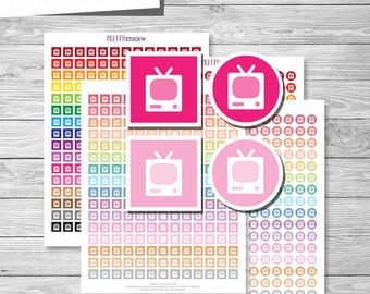 TV Stickers, Printable TV Stickers, TV Planner Stickers, Printable Television Stickers, Printable Television Planner Stickers - PS58