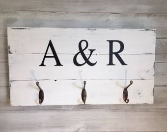 Personalised Initials Wooden Plaque with 3 Coat Hooks - Rustic finish