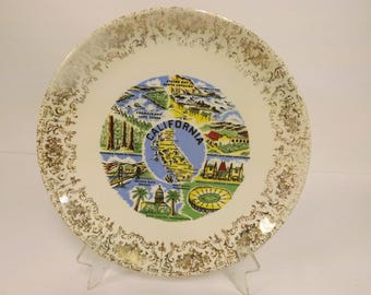 California Souvenir Plate Vintage California Plate