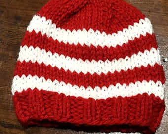 Preemie, small newborn red and white hand knit beanie, Christmas photo prop, winter hat, acrylic yarn
