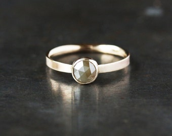 Rose Cut Diamond Ring, Natural Color Diamond Engagement, Unique Engagement Ring, 14k Yellow Gold, Recycled Metal, Conflict Free