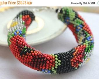 SALE 25% Floral Rope Bracelet Beadwork crochet Ukrainian beadwork flower jewelry poppy bracelet Seed Bead Crochet floral gift fo m