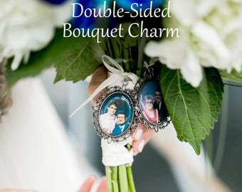 SALE! Memorial Bouquet Charm - Double-Sided - Personalized with Photo - Antique Bronze or Silver- Cyber Monday
