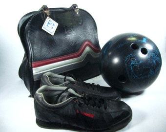 High Skore 300 Bowling Ball, Brunswick Bowling Ball Bag, Bowling Shoes, Vintage Sports,