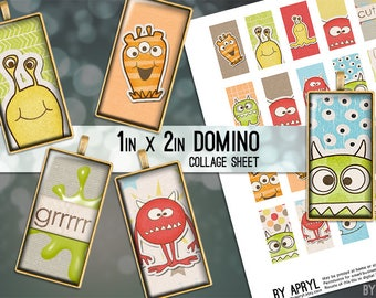 Colorful Monsters 1x2 Domino Collage Sheet Digital Image for Domino Pendants Magnets Scrapbooking Journaling JPG D0068