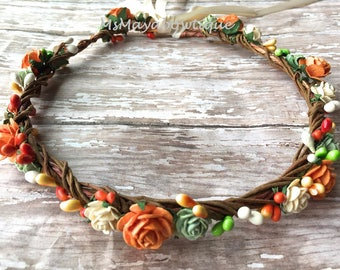 Fall flower crown, autumn flower crown, flower crown wedding, rustic wedding crown, boho wedding, bridesmaids crown, flower girl crown
