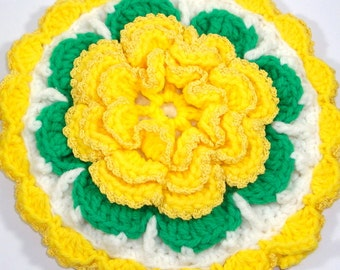 Vintage Crochet Potholder, Large Yellow and Green Flower, Floral, Retro Kitchen Decor, Wall Hanging, MId Century Pot Holder,   (162-14)