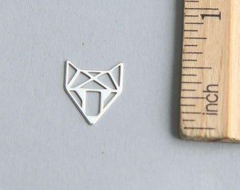 Fox Charm Silver Fox charm, Origami Fox Charm, Sterling Silver Fox, Tiny Fox charm, 925 Sterling Silver Charm, 11 x 14mm ( 1 piece )