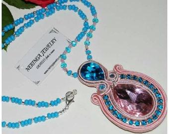 Soutache necklace with crystals, Soutache, necklace, necklace with crystals