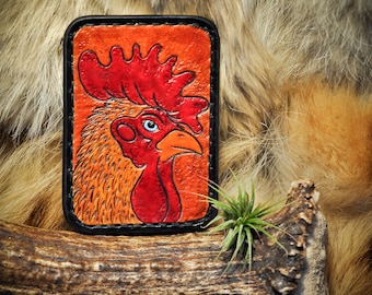 Leather Slim Card Wallet - Tooled Leather Wallet - Rooster