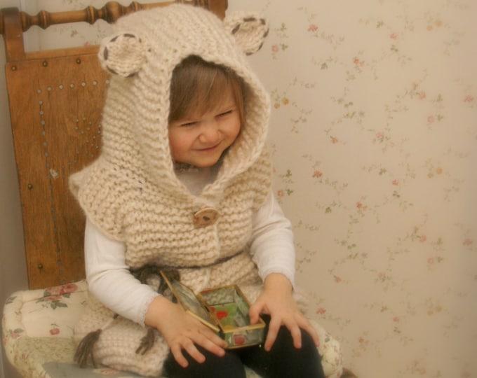 KNITTING PATTERN bear vest Sheridan with hood  (2-3y/4-5y/6-7y/8-10y/11-12y sizes)