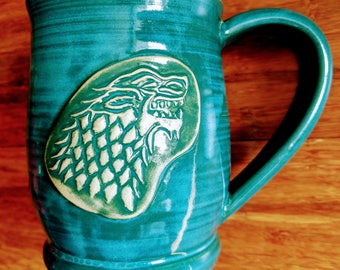 GOT House Stark mug, 14 ounce handmade ceramic mug,  #197