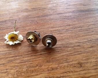 Crumpled watch part earrings; steampunk jewellery, distressed earrings.