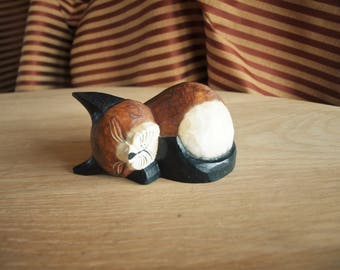 Sleeping Kitty Cat Figurine in Hand Carved Wood and Hand Painted