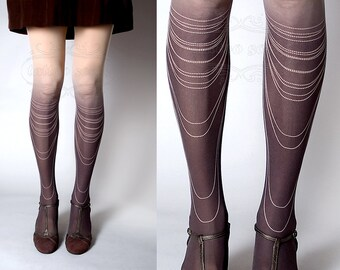 Tattoo Tights -  nude color one size Chains Necklace full length closed toe gradient tights pantyhose tattoosocks
