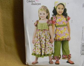 Uncut McCall's Pattern 6062 Girls Size 6,7,8 Girls Tops, Dress, Capri Pants and Kerchief
