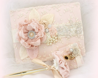 Lace Guest Book Blush Ivory Gold Wedding Guestbook Signature Book Signing Pen Guests Sign In Book Elegant Vintage Style
