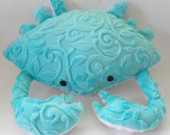Minky crab pillow, nautical decor, bed pillows, coastal decor, nautical bedding, beach pillows, child's toy crab, crab plushie