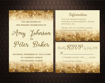 Gold Glitter Wedding Invitation Set Printable, Wedding Invitation, Digital File, Invitación de la boda, code-016