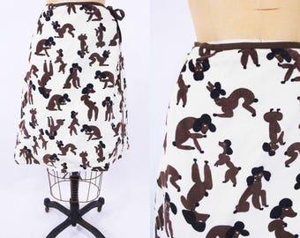 "ANNIVERSARY SALE // 1970s novelty skirt   poodle dog print velour wrap skirt   vintage 70s skirt   W 25"""